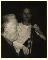 George Shearing and an unidentified man playing double bass, Los Angeles [descriptive]