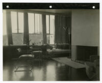 Mosk House, interior living area with fireplace, Los Angeles, California, 1933
