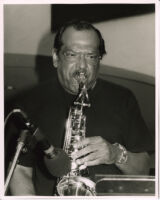Ernie Watts playing the saxophone in Los Angeles, March 1997 [descriptive]