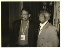 Gerald Wilson with an unidentified man, Los Angeles [descriptive]