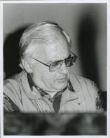 Paul Bley sitting at a piano, Los Angeles, February 1996 [descriptive]