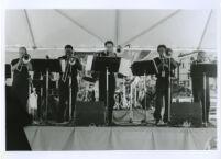 BoneSoir play trombones in Los Angeles, July 31, 1999 [descriptive]