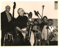 Putter Smith, Nick Brignola, Joe LaBarbera and Cecil Payne (L-R) performing in Los Angeles, June 1999 [descriptive]