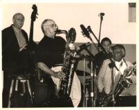 Putter Smith, Nick Brignola, Joe LaBarbera and Cecil Payne (L-R) performing in Los Angeles, June 1999 [descriptive]