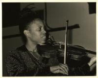 Regina Carter playing the violin, Los Angeles, October 1999 [descriptive]