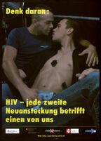 Denk daran: HIV--jede zweite Neuansteckung betrifft einen von uns [inscribed]