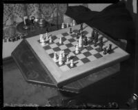 Chess set on a table in the house of actor John Gilbert, Beverly Hills, 1936