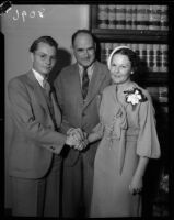 William Stover and bride are married by Judge Dudley Valentine.