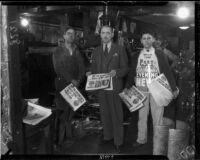 E. Manchester Boddy, publisher of the Los Angeles Daily and Evening News, photographed with newspaper employees, Los Angeles, 1936.