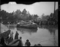 """Golden Gate Bridge"" float in the Tournament of Roses Parade, Pasadena, 1934"