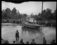 """Treasure Ship"" float in the Tournament of Roses Parade, Pasadena, 1934"
