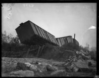 Wreckage of Southern Pacific box cars after record-breaking storms, December 31, 1933.