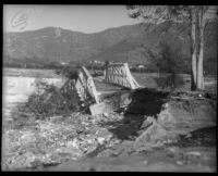 Bridge out in after flooding from heavy rains, La Crescenta-Montrose, 1934