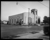 Exterior view of facade and and side of the First Baptist Church of Inglewood, circa 1924