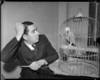 Attorney George Stahlman, photographed with parrot.