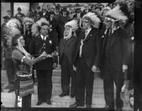"Cherokee Chief Thunder Cloud inducts prominent Los Angelinos into the ""Old Glory Braves"", March 9, 1934."