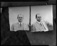 Photographs of William F. Gettle, likely used in connection to his kidnapping case, circa May 9, 1934.