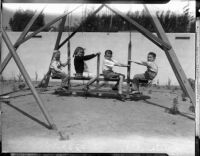 Kidnapping victim William F. Gettle's four children at play, after their father's safe return home.  Circa May 15, 1934.
