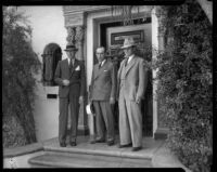 Beverly Hills Chief of Police Charles C. Blair, District Attorney Buron Fitts, and Gettle family lawyer Ernest E. Noon, Beverly Hills, 1934