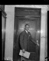 District Attorney Buron Fitts on his way to the Grand Jury, circa May 1934.