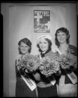 Members of the American Legion Auxillary hold bouquets of artificial poppies on Memorial Day, May 26, 1934.