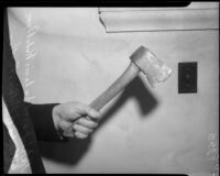 Axe used in the murders of Carrie L. and Robert Payne.  Circa June 4, 1934.