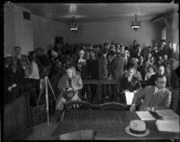 Crowd at the inquest for Louis R. Payne, Los Angeles, June 6, 1934.