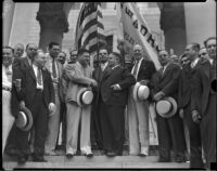 Mayor Frank Shaw greets Elks members, Los Angeles, 1930s