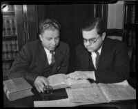 William E. MacFaden and Robert W. Kenny, two of California's youngest judges, Los Angeles, circa 1934