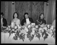 Prince and Princess Kaya of Japan seated with Tomokazu Hori, the Japanese Consul of Southern California, Los Angeles, 1934
