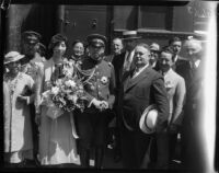 Prince and Princess Kaya of Japan pose with Mayor Frank Shaw at La Grande Station, Los Angeles, 1934