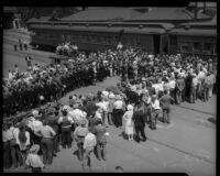 Crowd welcomes Prince and Princess Kaya of Japan at the La Grande Station, Los Angeles, 1934