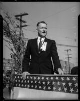 R.J. Wosmek speaks at the unveiling of a Junipero Serra statue on Sunset Boulevard, Los Angeles, 1934