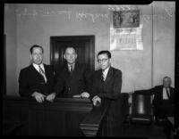 Frank Koehane, Jack Kearns and an unidentified man in court, Los Angeles, 1934