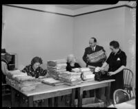 Unidentified supporters of the Townsend Plan work in an office, Los Angeles, 1935