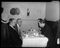 Dr. Francis Townsend and Raymond Haight meet with two unidentified men in a restaurant, Los Angeles, 1935