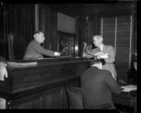 Jury Foreman John P. Buckley and Judge Pat Parker at the Los Angeles County Grandy Jury trial of District Attorney Buron Fitts, Los Angeles, 1934