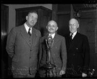 Judges Myron Westover, Ben B. Lindsey, and Thomas L. Ambrose pose together, Los Angeles, 1934