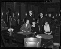 District Attorney Buron Fitts, his wife Marion Fitts, and his sister Berthal Gregory appear with their attorneys, Los Angeles, 1934