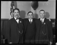 Deputy Sheriffs Yorba and Shehi pose with Sheriff Eugene W. Biscailuz at their retirement ceremony, Los Angeles, 1934