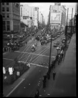 Parade celebrates Aimee Semple McPherson's 25th year of ministry service, Los Angeles, 1935