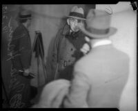 Nola Hahn pictured at the grand jury trial on gambling operations, Los Angeles, 1935