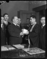 Arch-Abbott S. Ohtani presents Mayor Frank L. Shaw with a gift, Los Angeles, 1934
