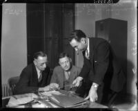 Detectives Miles Ledbetter and Thad Brown question Edward E. Holmes over the murder of his wife, Los Angeles, 1935