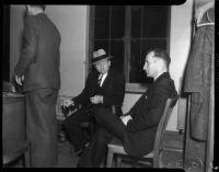 Detective Joe Filkas questions Ernest LaValle about the murder of his friend Mrs. Celia L. Holmes, Los Angeles, 1934