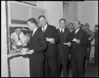 Board of Supervisors visits local food kitchen, Los Angeles, 1934