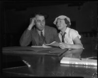 Pete Schneider, with wife Alma, on trial for manslaughter, Los Angeles, 1935