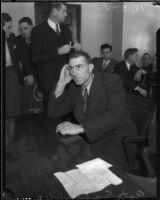 Pete Schneider on trial for manslaughter, Los Angeles, 1935