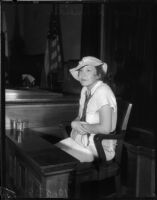 Alma Schneider, wife of Pete Schneider who was on trial for manslaughter, Los Angeles, 1935