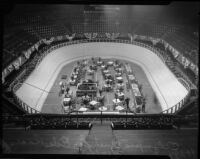 Olympic Auditorium, set up for a six-day bike race, Los Angeles, 1935